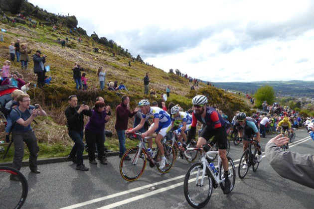 Sir Bradley Wiggins heads up the Cow and Calf in the Tour de Yorkshire